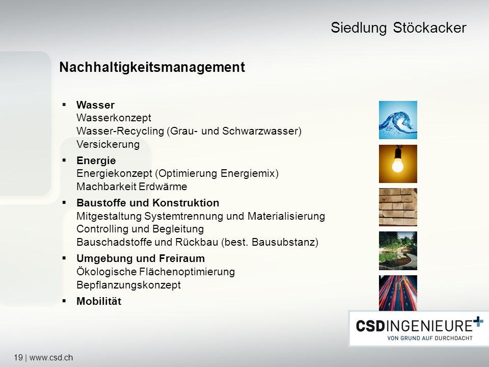 19 | www.csd.ch Siedlung Stöckacker Nachhaltigkeitsmanagement Wasser Wasserkonzept Wasser-Recycling (Grau- und Schwarzwasser) Versickerung Energie Ene