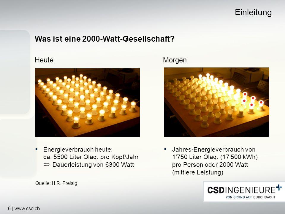 6 | www.csd.ch Was ist eine 2000-Watt-Gesellschaft? HeuteMorgen Einleitung Energieverbrauch heute: ca. 5500 Liter Öläq. pro Kopf/Jahr => Dauerleistung