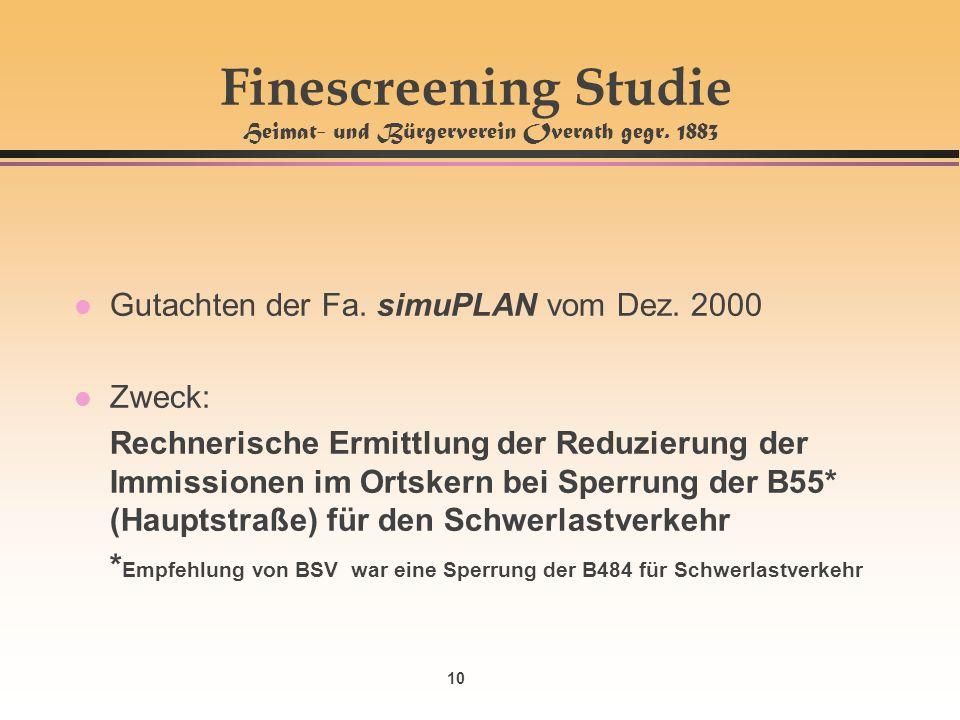 10 Finescreening Studie Heimat- und Bürgerverein Overath gegr. 1883 l Gutachten der Fa. simuPLAN vom Dez. 2000 l Zweck: Rechnerische Ermittlung der Re
