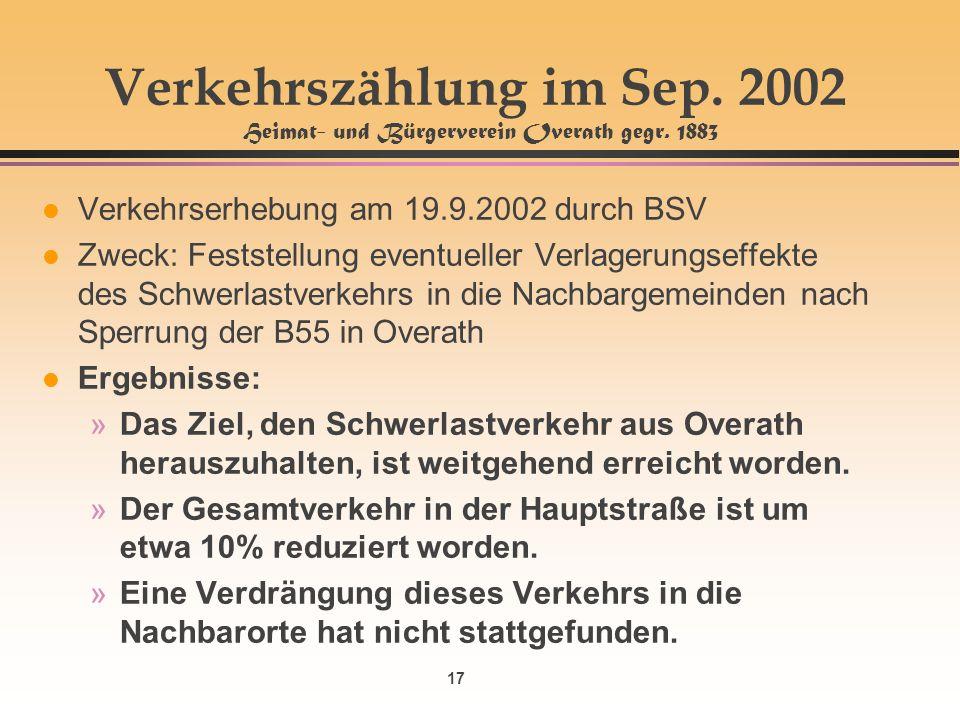 17 Verkehrszählung im Sep. 2002 Heimat- und Bürgerverein Overath gegr. 1883 l Verkehrserhebung am 19.9.2002 durch BSV l Zweck: Feststellung eventuelle