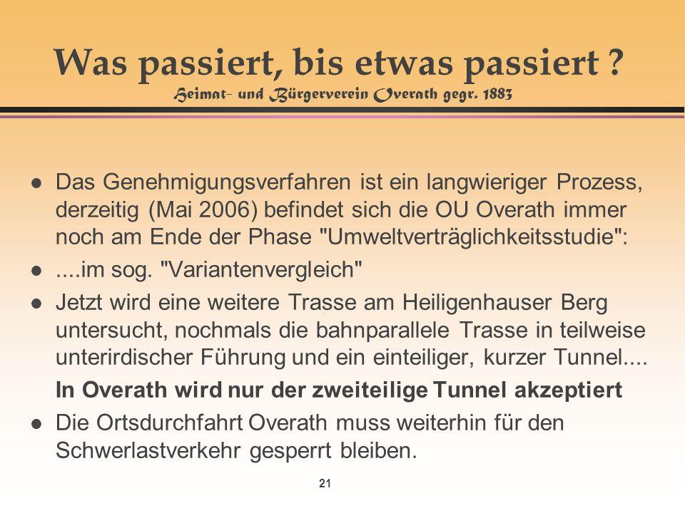 21 Was passiert, bis etwas passiert . Heimat- und Bürgerverein Overath gegr.