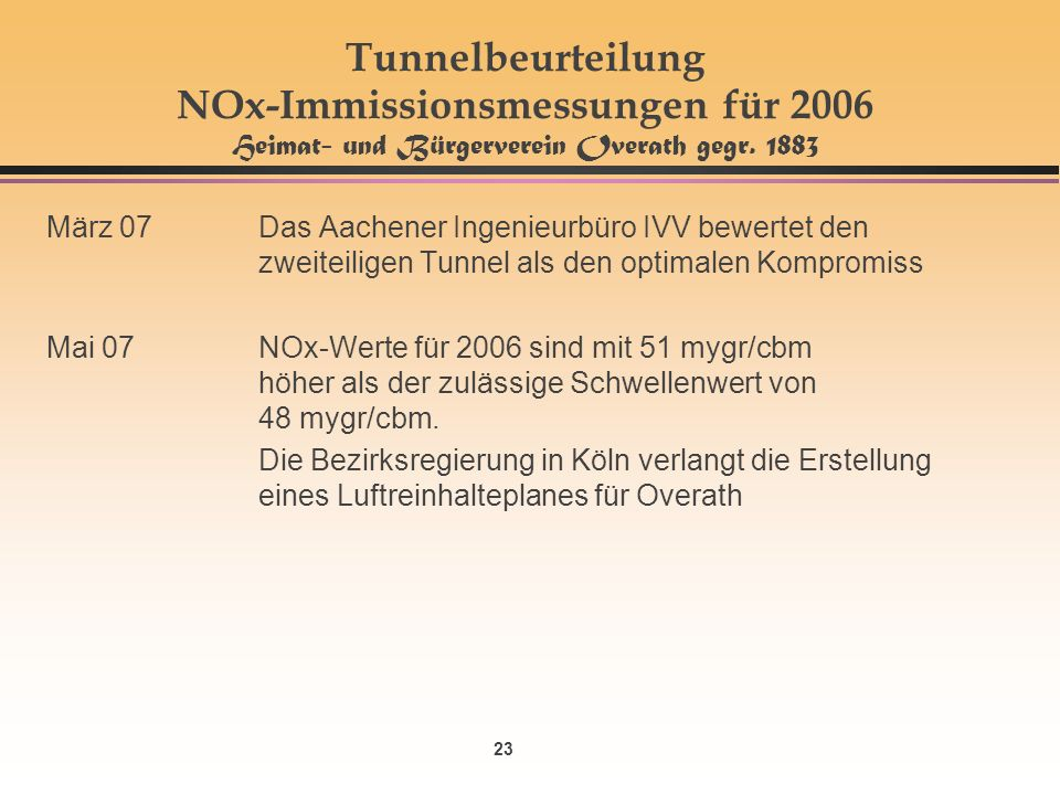 23 Tunnelbeurteilung NOx-Immissionsmessungen für 2006 Heimat- und Bürgerverein Overath gegr. 1883 März 07Das Aachener Ingenieurbüro IVV bewertet den z