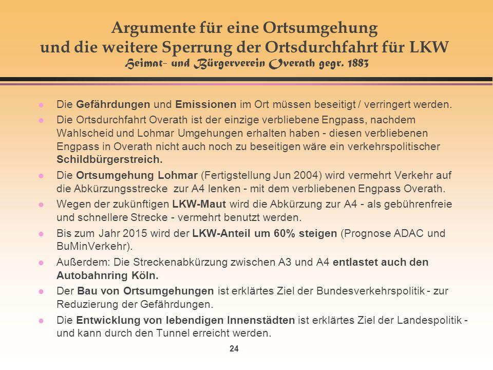 24 Argumente für eine Ortsumgehung und die weitere Sperrung der Ortsdurchfahrt für LKW Heimat- und Bürgerverein Overath gegr.