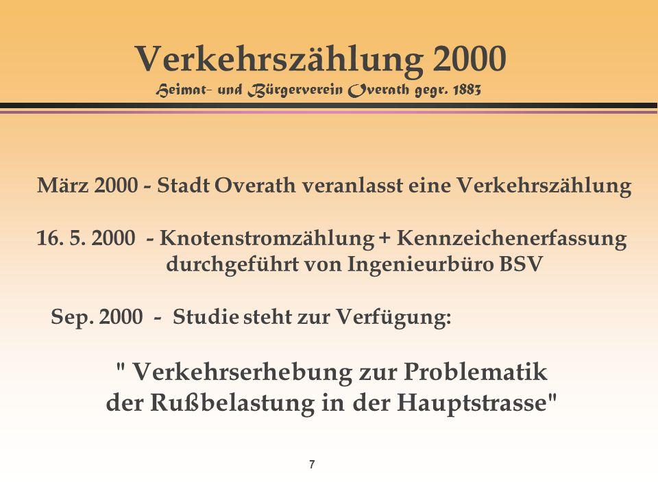 7 Verkehrszählung 2000 Heimat- und Bürgerverein Overath gegr. 1883 März 2000 - Stadt Overath veranlasst eine Verkehrszählung 16. 5. 2000 - Knotenstrom