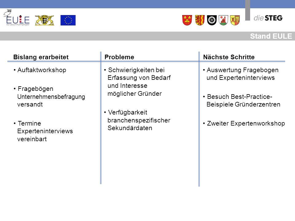 Stand EULE Auswertung Fragebogen _und Experteninterviews Besuch Best-Practice- _Beispiele Gründerzentren Zweiter Expertenworkshop Schwierigkeiten bei