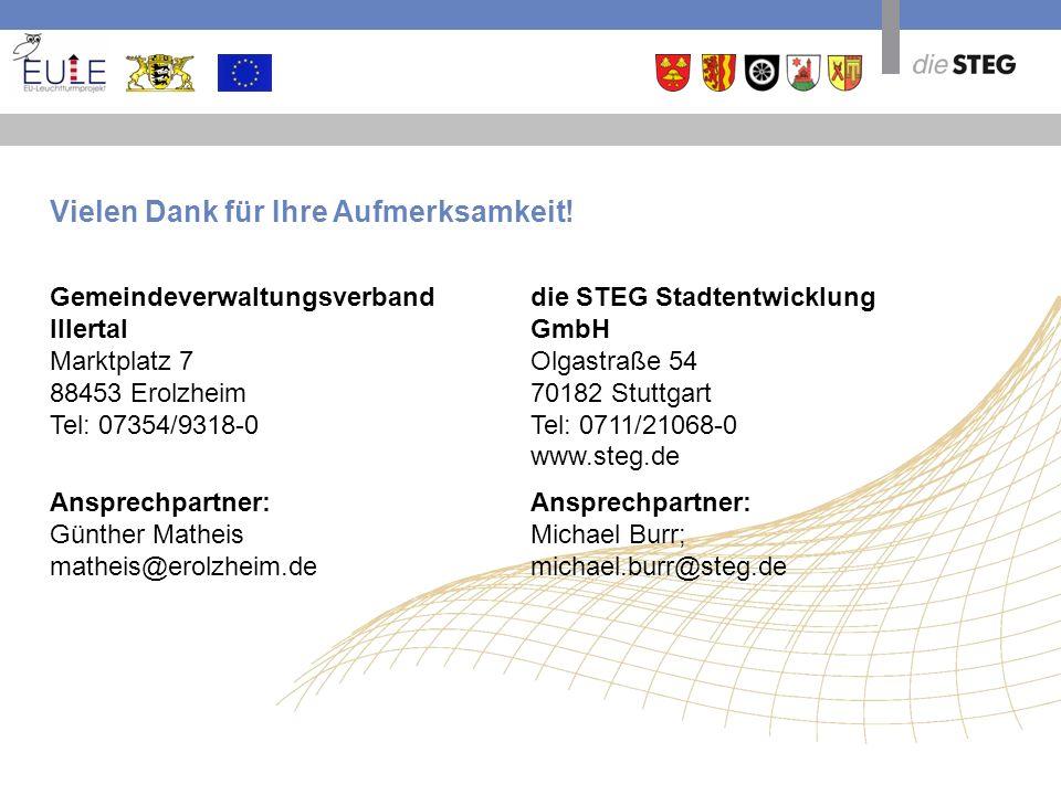 die STEG Stadtentwicklung GmbH Olgastraße 54 70182 Stuttgart Tel: 0711/21068-0 www.steg.de Ansprechpartner: Michael Burr; michael.burr@steg.de Vielen