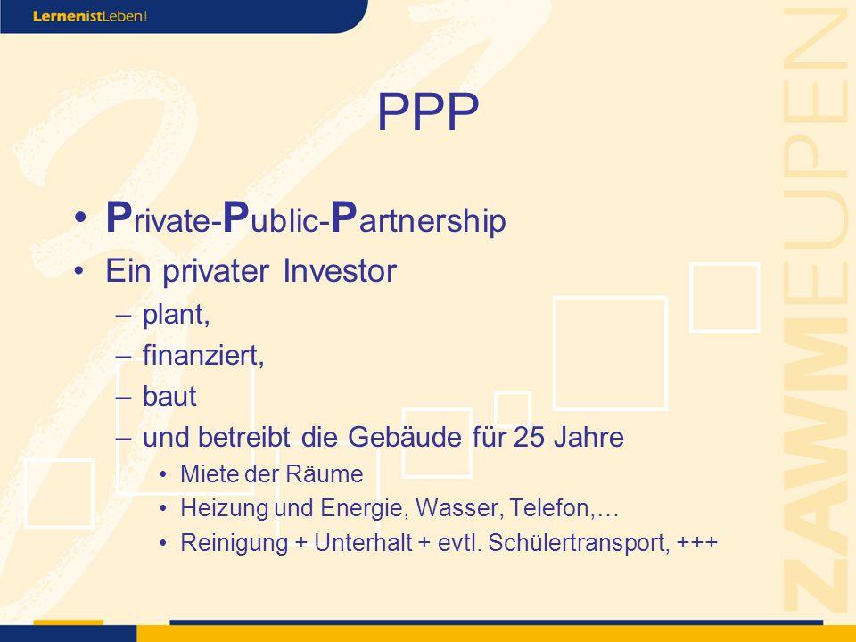 PPP P rivate- P ublic- P artnership Ein privater Investor –plant, –finanziert, –baut –und betreibt die Gebäude für 25 Jahre Miete der Räume Heizung und Energie, Wasser, Telefon,… Reinigung + Unterhalt + evtl.