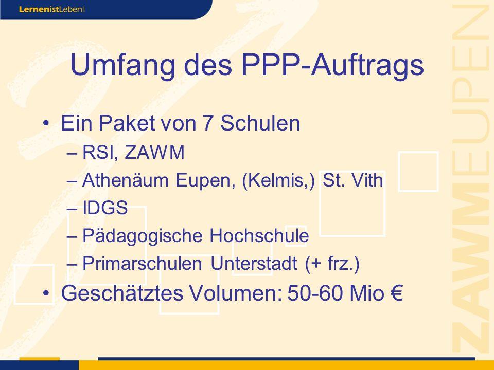 Umfang des PPP-Auftrags Ein Paket von 7 Schulen –RSI, ZAWM –Athenäum Eupen, (Kelmis,) St.