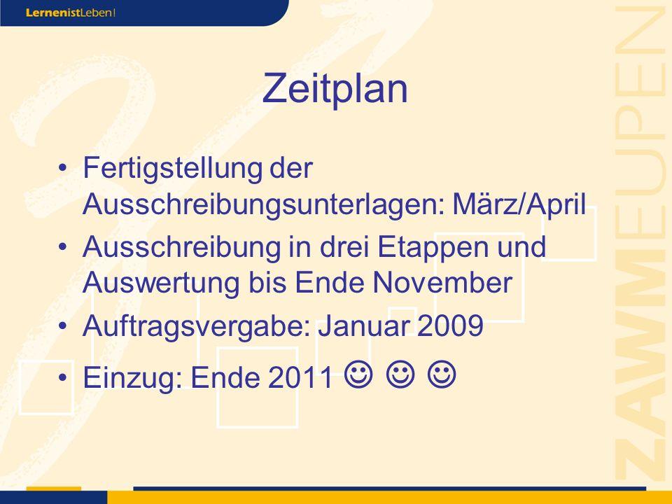 Zeitplan Fertigstellung der Ausschreibungsunterlagen: März/April Ausschreibung in drei Etappen und Auswertung bis Ende November Auftragsvergabe: Januar 2009 Einzug: Ende 2011