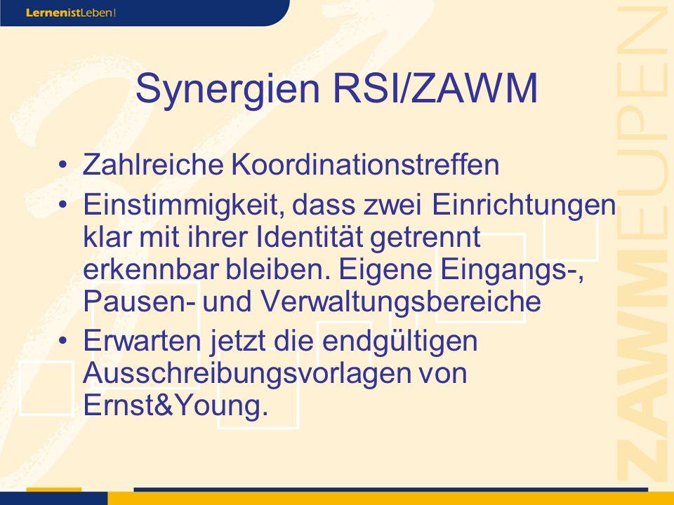 Synergien RSI/ZAWM Zahlreiche Koordinationstreffen Einstimmigkeit, dass zwei Einrichtungen klar mit ihrer Identität getrennt erkennbar bleiben.