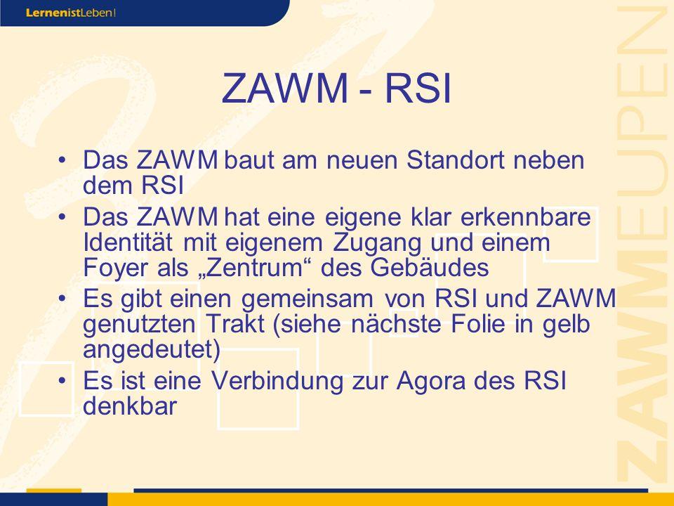 ZAWM - RSI Das ZAWM baut am neuen Standort neben dem RSI Das ZAWM hat eine eigene klar erkennbare Identität mit eigenem Zugang und einem Foyer als Zentrum des Gebäudes Es gibt einen gemeinsam von RSI und ZAWM genutzten Trakt (siehe nächste Folie in gelb angedeutet) Es ist eine Verbindung zur Agora des RSI denkbar