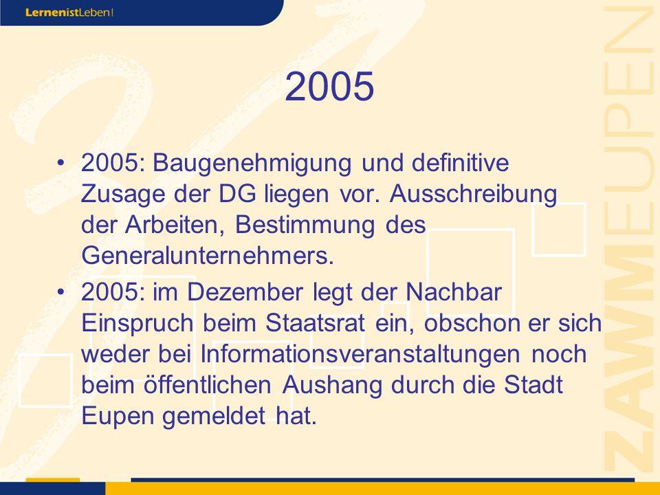 2005 2005: Baugenehmigung und definitive Zusage der DG liegen vor.