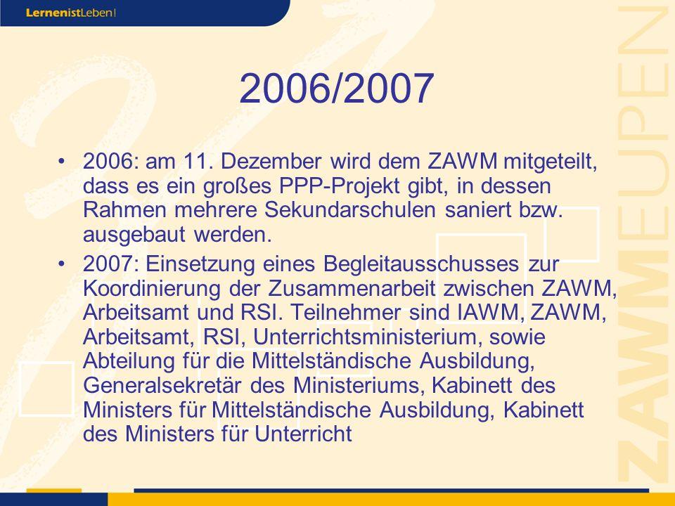 2007 mehrere Treffen mit Regierung und Ministerium zur Bestimmung von Synergiemöglichkeiten zwischen RSI, ZAWM und Arbeitsamt.