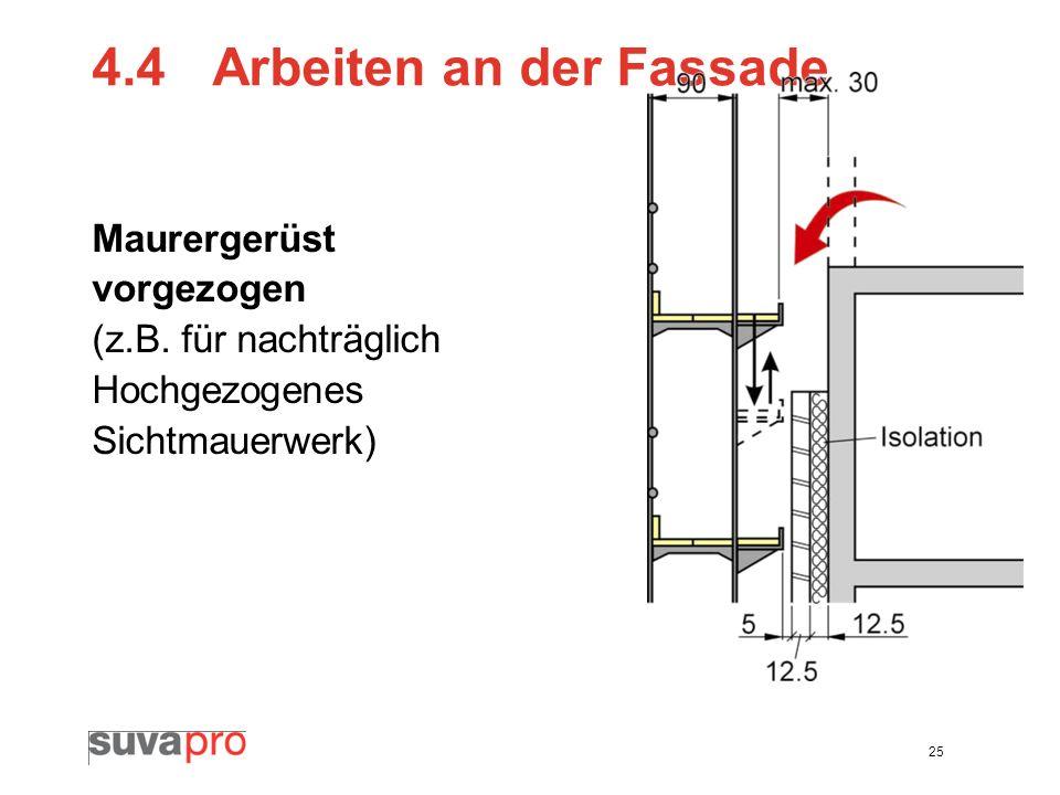 25 4.4 Arbeiten an der Fassade Maurergerüst vorgezogen (z.B. für nachträglich Hochgezogenes Sichtmauerwerk)
