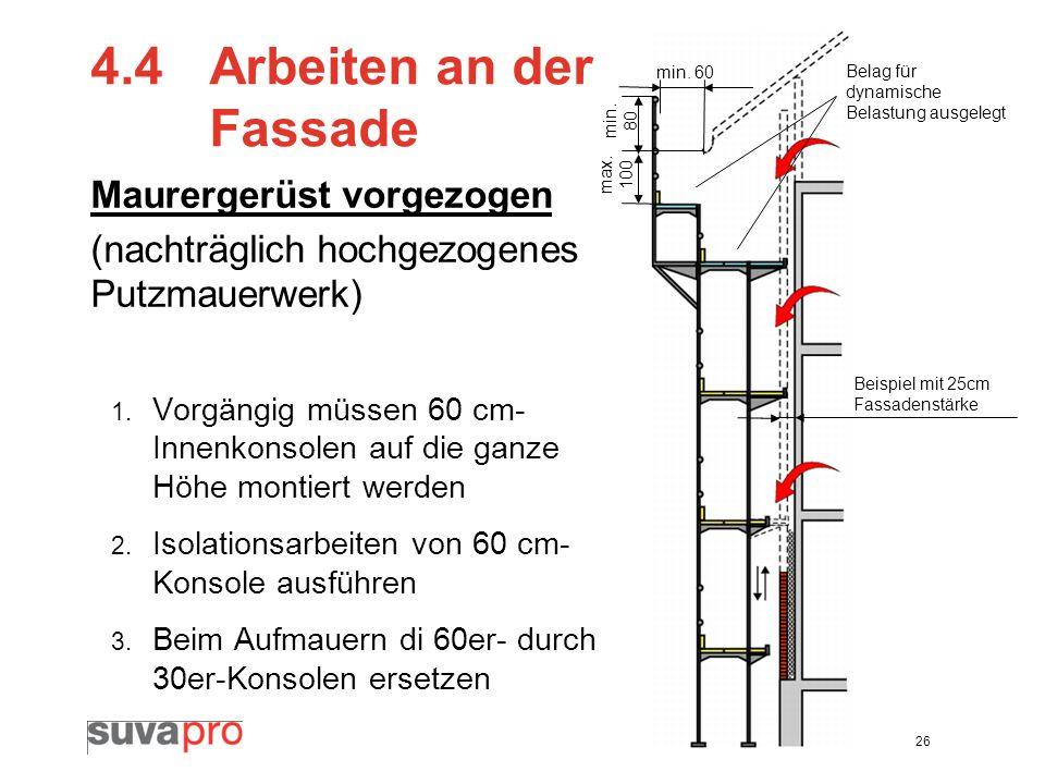 26 4.4 Arbeiten an der Fassade Maurergerüst vorgezogen (nachträglich hochgezogenes Putzmauerwerk) 1. Vorgängig müssen 60 cm- Innenkonsolen auf die gan