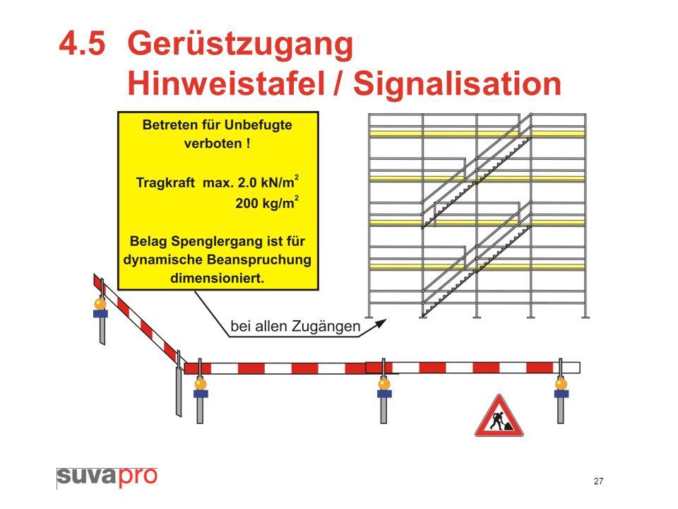 27 4.5Gerüstzugang Hinweistafel / Signalisation