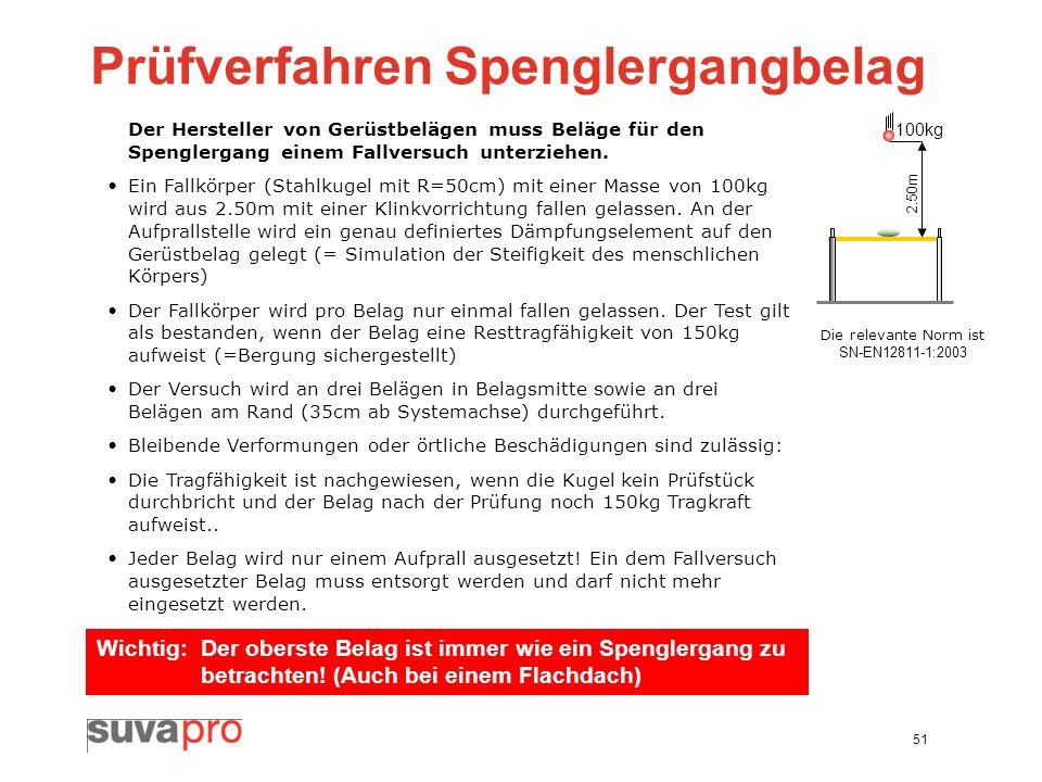 51 Prüfverfahren Spenglergangbelag Der Hersteller von Gerüstbelägen muss Beläge für den Spenglergang einem Fallversuch unterziehen. Ein Fallkörper (St
