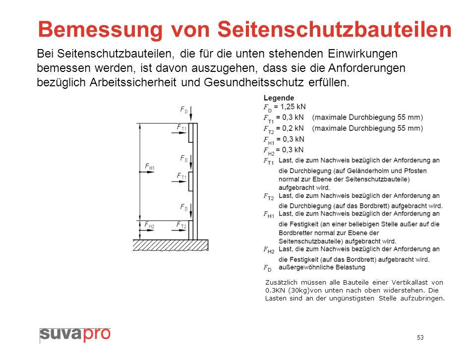 53 Bemessung von Seitenschutzbauteilen Bei Seitenschutzbauteilen, die für die unten stehenden Einwirkungen bemessen werden, ist davon auszugehen, dass