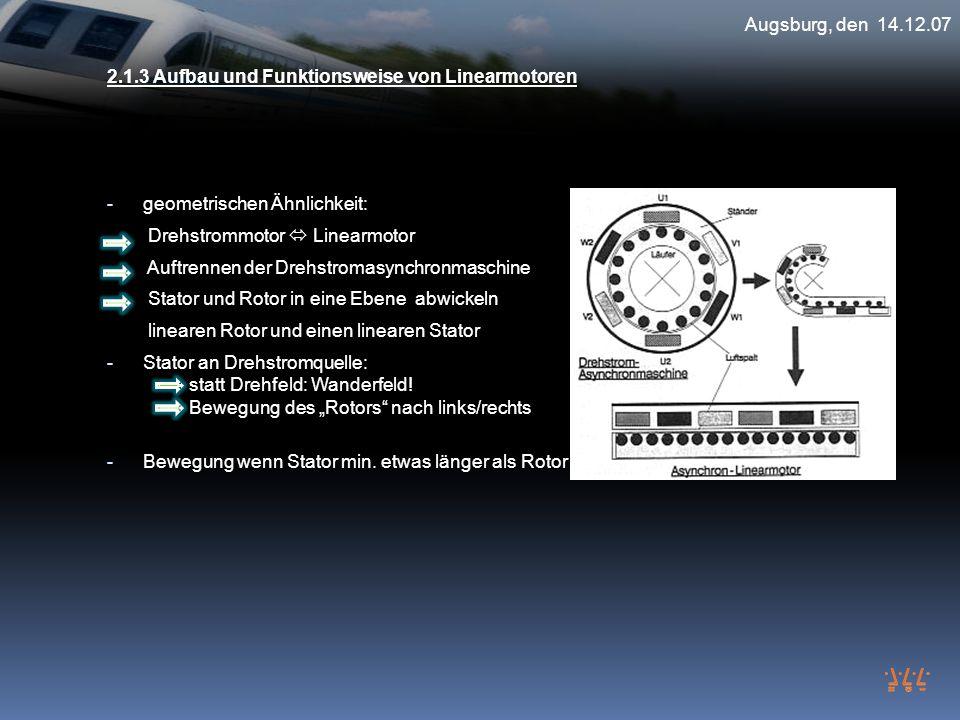Augsburg, den 14.12.07 2.1.3 Aufbau und Funktionsweise von Linearmotoren - geometrischen Ähnlichkeit: Drehstrommotor Linearmotor Auftrennen der Drehst