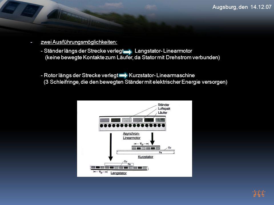 Augsburg, den 14.12.07 - zwei Ausführungsmöglichkeiten: - Ständer längs der Strecke verlegt Langstator- Linearmotor (keine bewegte Kontakte zum Läufer
