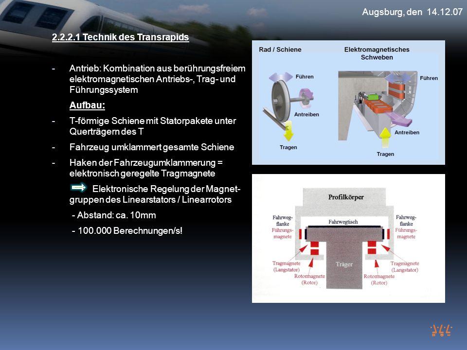Augsburg, den 14.12.07 2.2.2.1 Technik des Transrapids - Antrieb: Kombination aus berührungsfreiem elektromagnetischen Antriebs-, Trag- und Führungssy