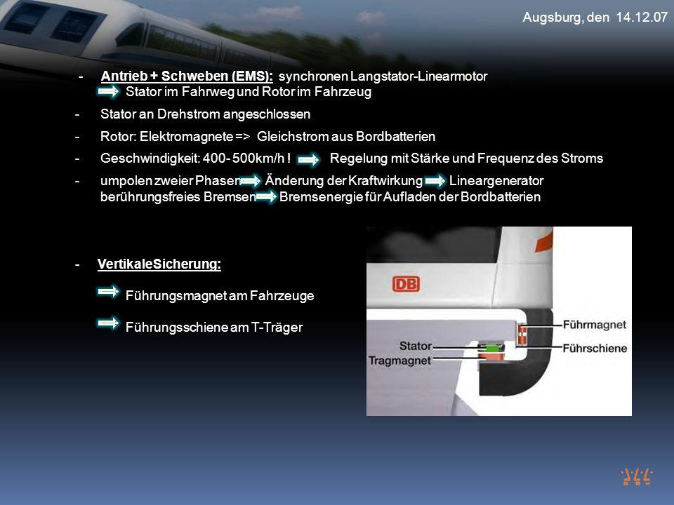 Augsburg, den 14.12.07 - Antrieb + Schweben (EMS): synchronen Langstator-Linearmotor Stator im Fahrweg und Rotor im Fahrzeug - Stator an Drehstrom ang