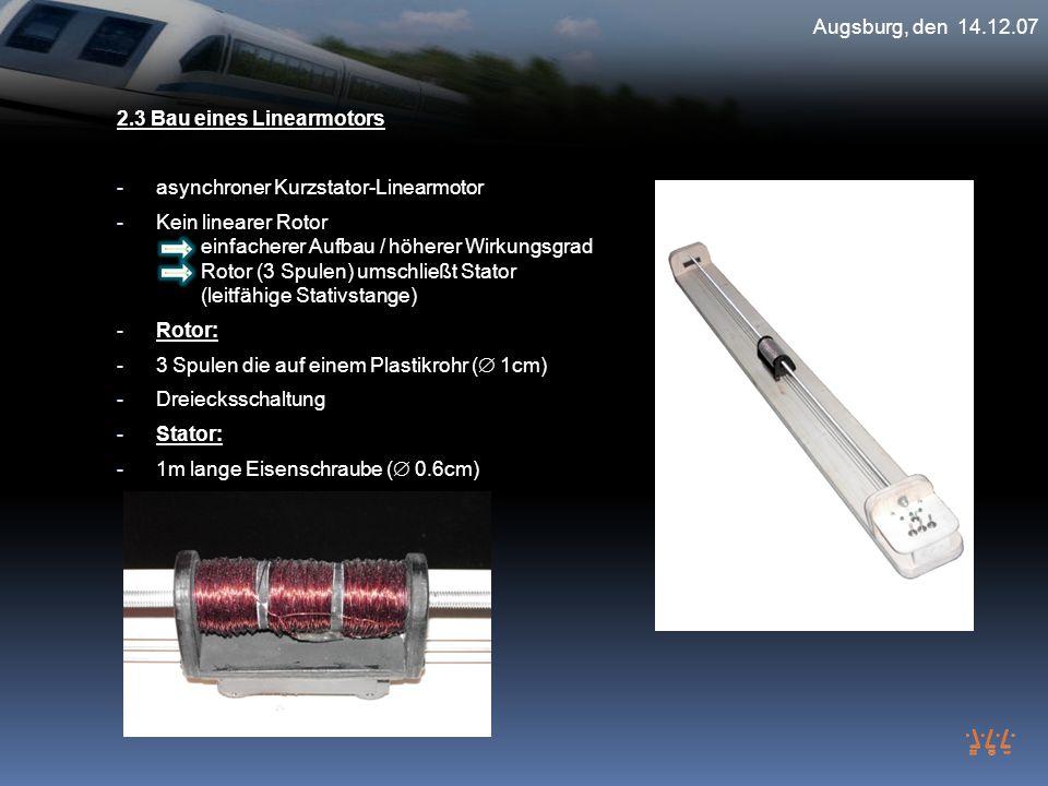 2.3 Bau eines Linearmotors - asynchroner Kurzstator-Linearmotor - Kein linearer Rotor einfacherer Aufbau / höherer Wirkungsgrad Rotor (3 Spulen) umsch