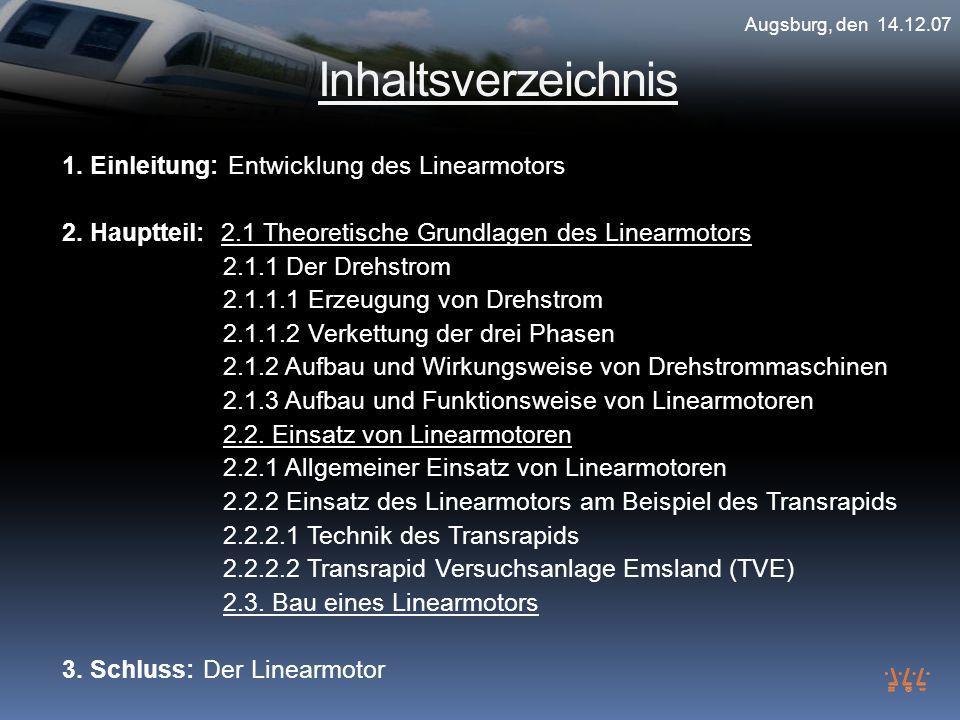 Inhaltsverzeichnis 1. Einleitung: Entwicklung des Linearmotors 2. Hauptteil: 2.1 Theoretische Grundlagen des Linearmotors 2.1.1 Der Drehstrom 2.1.1.1