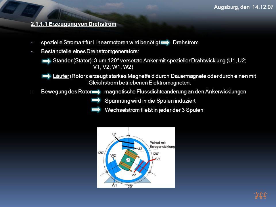 2.1.1.1 Erzeugung von Drehstrom - spezielle Stromart für Linearmotoren wird benötigt Drehstrom - Bestandteile eines Drehstromgenerators: Ständer (Stat