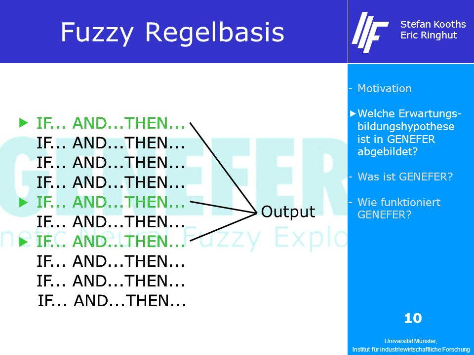 Universität Münster, Institut für industriewirtschaftliche Forschung Stefan Kooths Eric Ringhut 10 Fuzzy Regelbasis IF... AND...THEN... Output IF... A