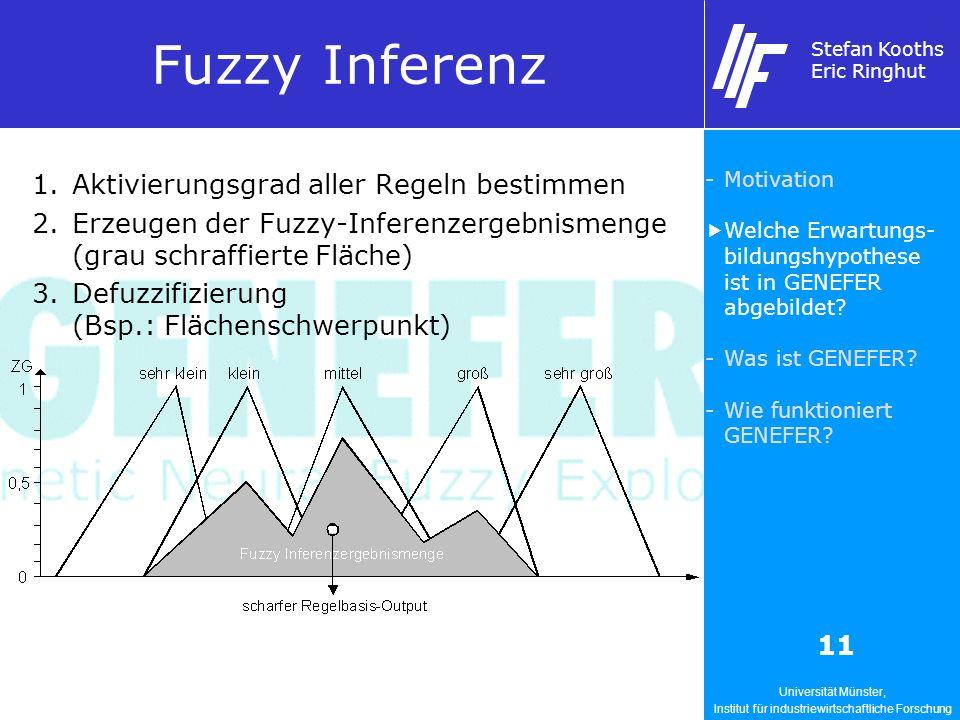 Universität Münster, Institut für industriewirtschaftliche Forschung Stefan Kooths Eric Ringhut 11 Fuzzy Inferenz 1.Aktivierungsgrad aller Regeln bestimmen 2.Erzeugen der Fuzzy-Inferenzergebnismenge (grau schraffierte Fläche) 3.Defuzzifizierung (Bsp.: Flächenschwerpunkt) -Motivation Welche Erwartungs- bildungshypothese ist in GENEFER abgebildet.