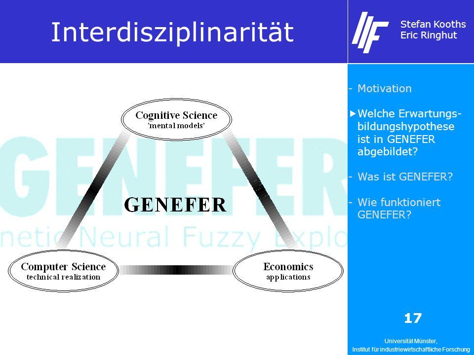 Universität Münster, Institut für industriewirtschaftliche Forschung Stefan Kooths Eric Ringhut 17 Interdisziplinarität -Motivation Welche Erwartungs- bildungshypothese ist in GENEFER abgebildet.