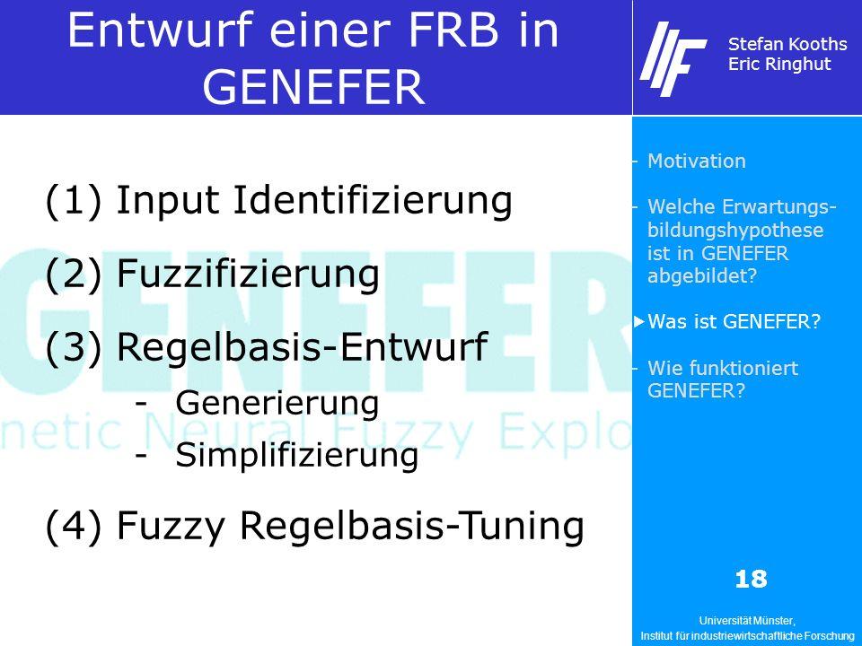 Universität Münster, Institut für industriewirtschaftliche Forschung Stefan Kooths Eric Ringhut 18 Entwurf einer FRB in GENEFER (1)Input Identifizierung (2)Fuzzifizierung (3)Regelbasis-Entwurf -Generierung -Simplifizierung (4)Fuzzy Regelbasis-Tuning -Motivation -Welche Erwartungs- bildungshypothese ist in GENEFER abgebildet.