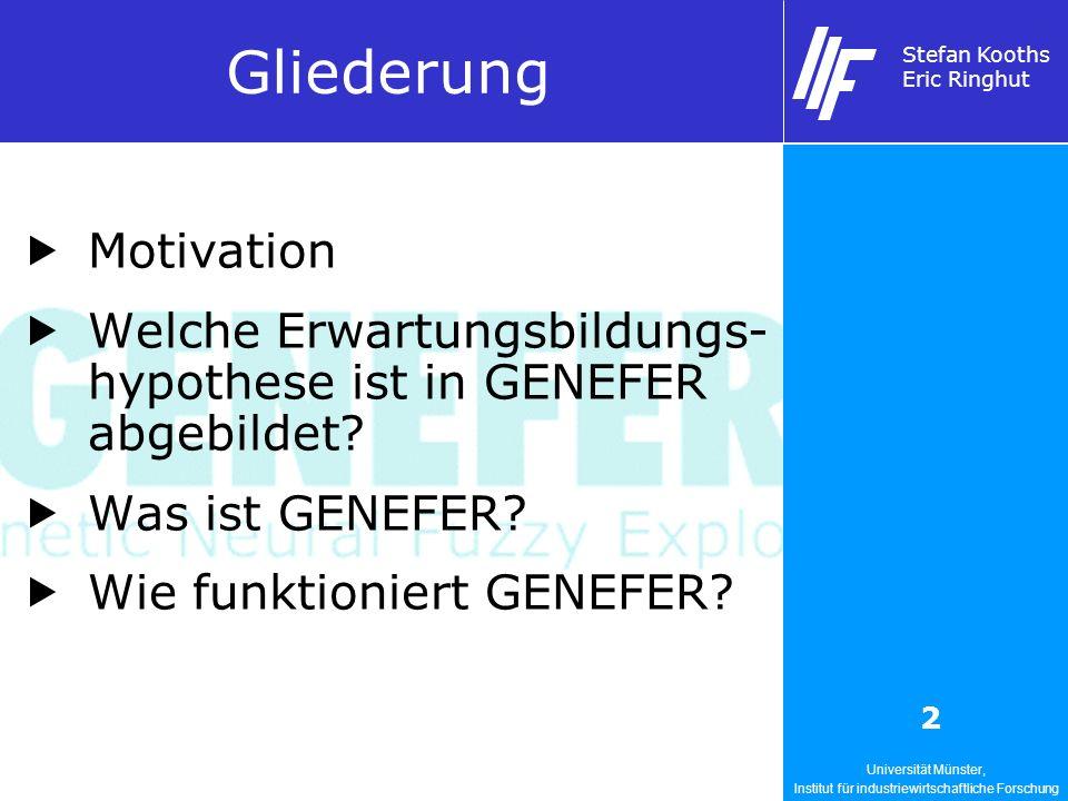 Universität Münster, Institut für industriewirtschaftliche Forschung Stefan Kooths Eric Ringhut 2 Gliederung Motivation Welche Erwartungsbildungs- hypothese ist in GENEFER abgebildet.