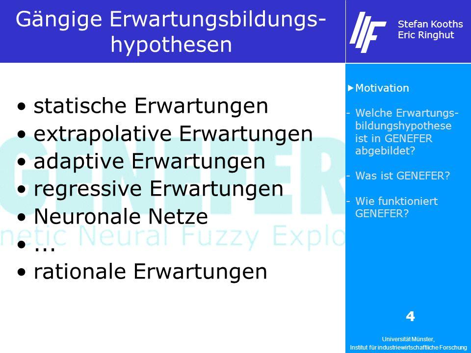 Universität Münster, Institut für industriewirtschaftliche Forschung Stefan Kooths Eric Ringhut 4 Gängige Erwartungsbildungs- hypothesen statische Erw