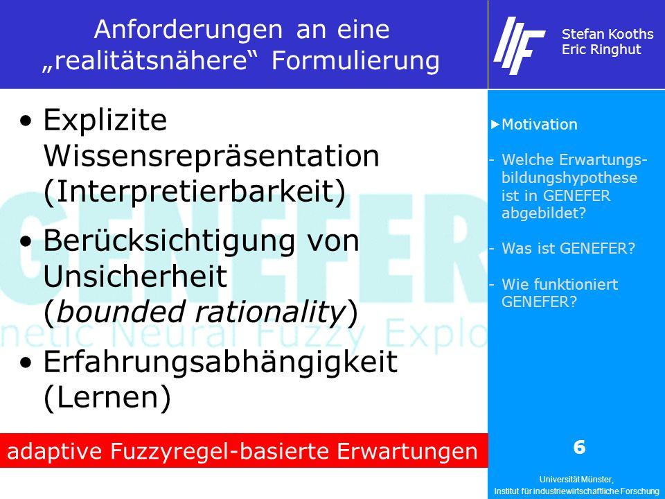 Universität Münster, Institut für industriewirtschaftliche Forschung Stefan Kooths Eric Ringhut 6 Anforderungen an eine realitätsnähere Formulierung Explizite Wissensrepräsentation (Interpretierbarkeit) Berücksichtigung von Unsicherheit (bounded rationality) Erfahrungsabhängigkeit (Lernen) adaptive Fuzzyregel-basierte Erwartungen Motivation -Welche Erwartungs- bildungshypothese ist in GENEFER abgebildet.