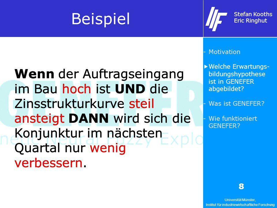Universität Münster, Institut für industriewirtschaftliche Forschung Stefan Kooths Eric Ringhut 8 Wenn der Auftragseingang im Bau hoch ist UND die Zin