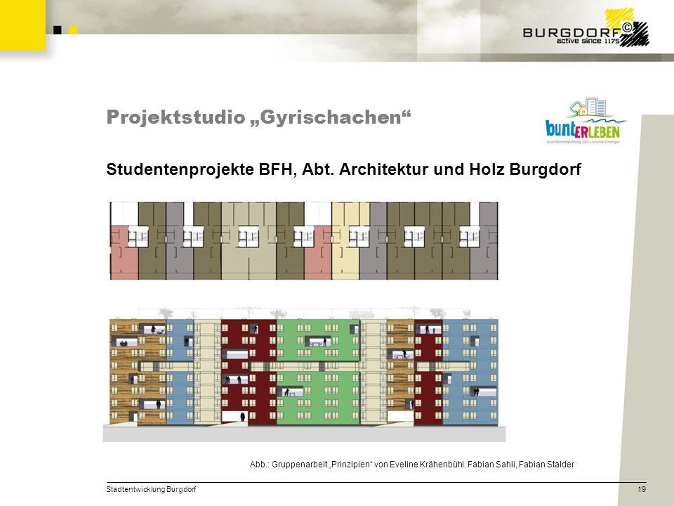 Stadtentwicklung Burgdorf19 Projektstudio Gyrischachen Studentenprojekte BFH, Abt. Architektur und Holz Burgdorf Abb.: Gruppenarbeit Prinzipien von Ev