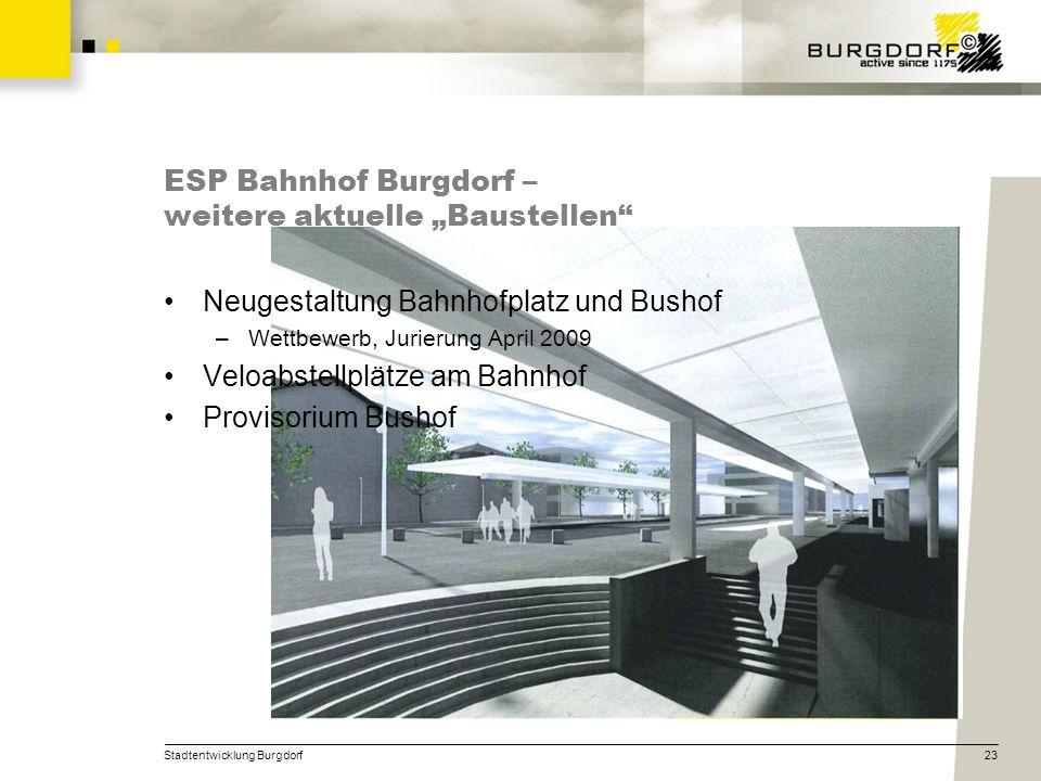 Stadtentwicklung Burgdorf23 ESP Bahnhof Burgdorf – weitere aktuelle Baustellen Neugestaltung Bahnhofplatz und Bushof –Wettbewerb, Jurierung April 2009