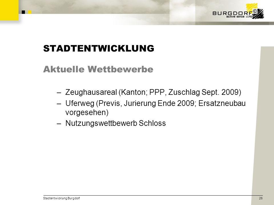 Stadtentwicklung Burgdorf26 STADTENTWICKLUNG Aktuelle Wettbewerbe –Zeughausareal (Kanton; PPP, Zuschlag Sept. 2009) –Uferweg (Previs, Jurierung Ende 2