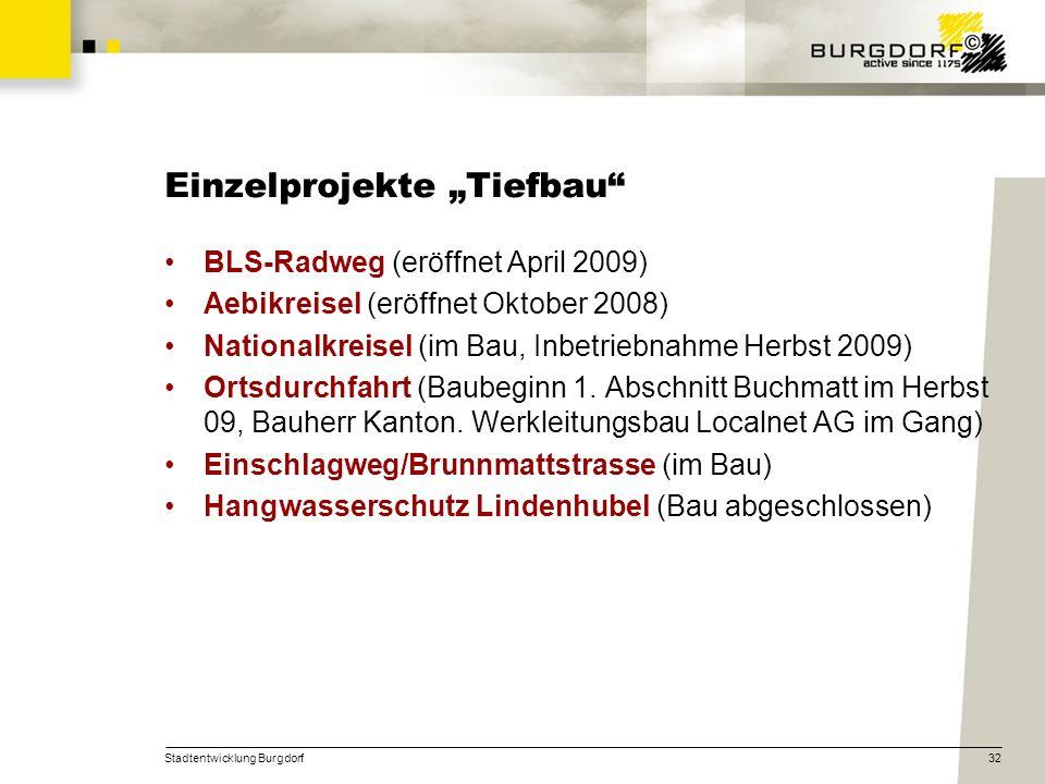 Stadtentwicklung Burgdorf32 Einzelprojekte Tiefbau BLS-Radweg (eröffnet April 2009) Aebikreisel (eröffnet Oktober 2008) Nationalkreisel (im Bau, Inbet