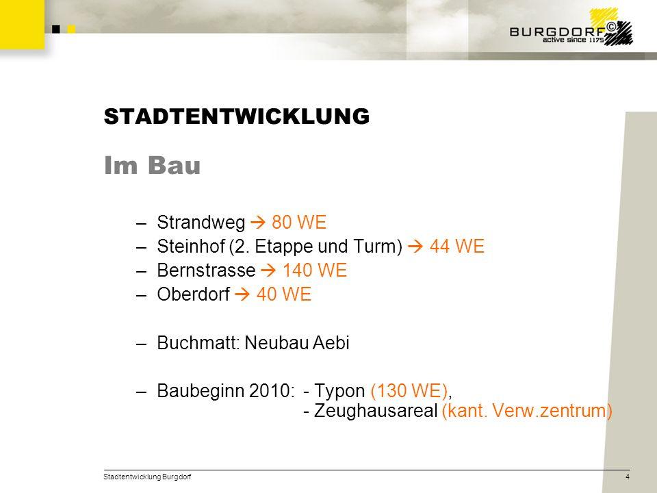 Stadtentwicklung Burgdorf4 STADTENTWICKLUNG Im Bau –Strandweg 80 WE –Steinhof (2. Etappe und Turm) 44 WE –Bernstrasse 140 WE –Oberdorf 40 WE –Buchmatt
