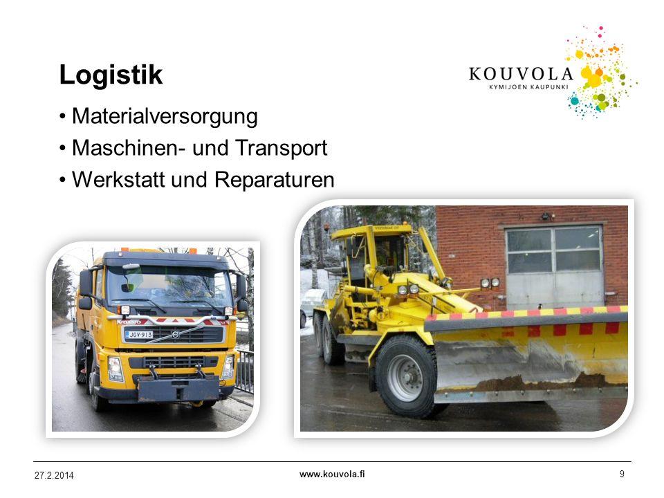 www.kouvola.fi9 27.2.2014 Logistik Materialversorgung Maschinen- und Transport Werkstatt und Reparaturen