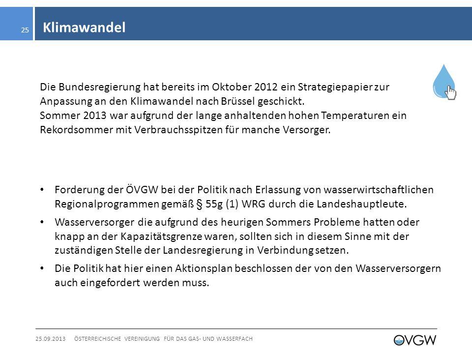 Klimawandel 25.09.2013ÖSTERREICHISCHE VEREINIGUNG FÜR DAS GAS- UND WASSERFACH 25 Die Bundesregierung hat bereits im Oktober 2012 ein Strategiepapier zur Anpassung an den Klimawandel nach Brüssel geschickt.
