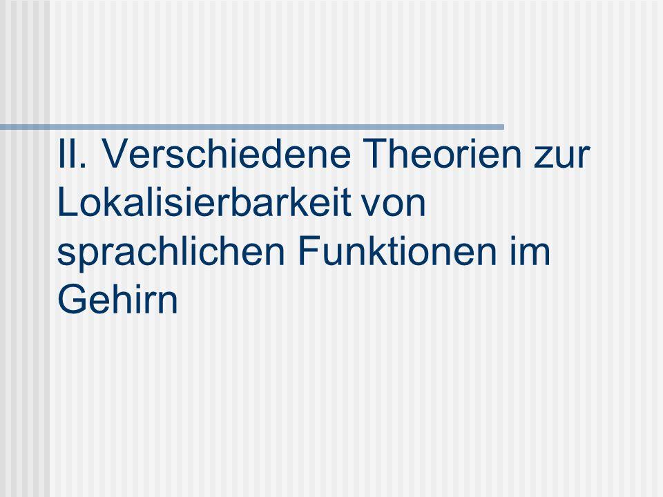 II. Verschiedene Theorien zur Lokalisierbarkeit von sprachlichen Funktionen im Gehirn