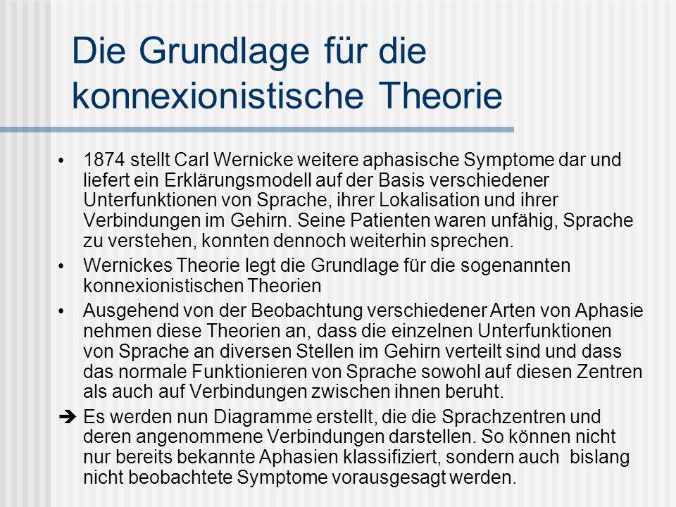 Die Grundlage für die konnexionistische Theorie 1874 stellt Carl Wernicke weitere aphasische Symptome dar und liefert ein Erklärungsmodell auf der Bas
