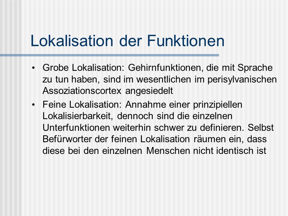 Lokalisation der Funktionen Grobe Lokalisation: Gehirnfunktionen, die mit Sprache zu tun haben, sind im wesentlichen im perisylvanischen Assoziationsc