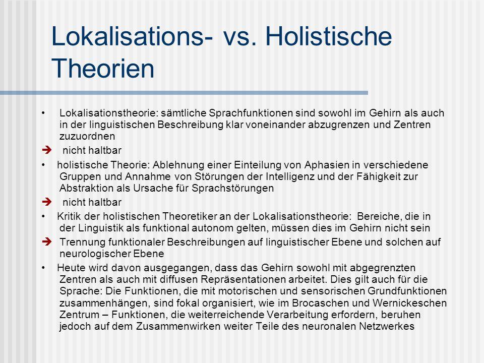 Lokalisations- vs. Holistische Theorien Lokalisationstheorie: sämtliche Sprachfunktionen sind sowohl im Gehirn als auch in der linguistischen Beschrei