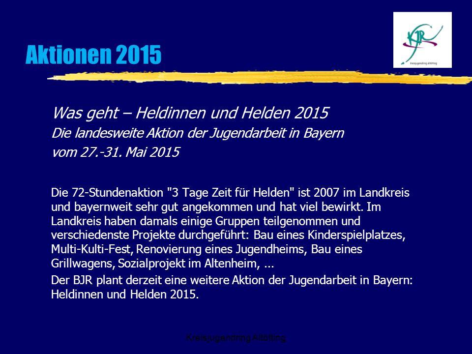 Kreisjugendring Altötting Aktionen 2015 Was geht – Heldinnen und Helden 2015 Die landesweite Aktion der Jugendarbeit in Bayern vom 27.-31. Mai 2015 Di