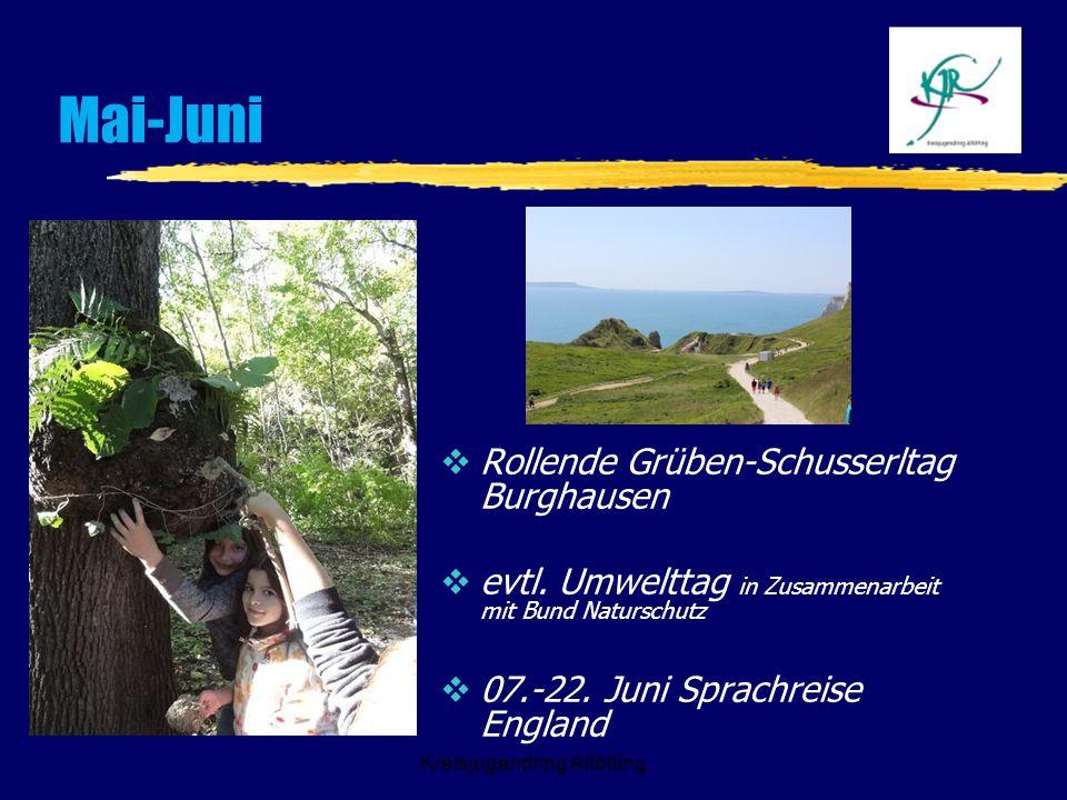 Kreisjugendring Altötting Mai-Juni Rollende Grüben-Schusserltag Burghausen evtl. Umwelttag in Zusammenarbeit mit Bund Naturschutz 07.-22. Juni Sprachr